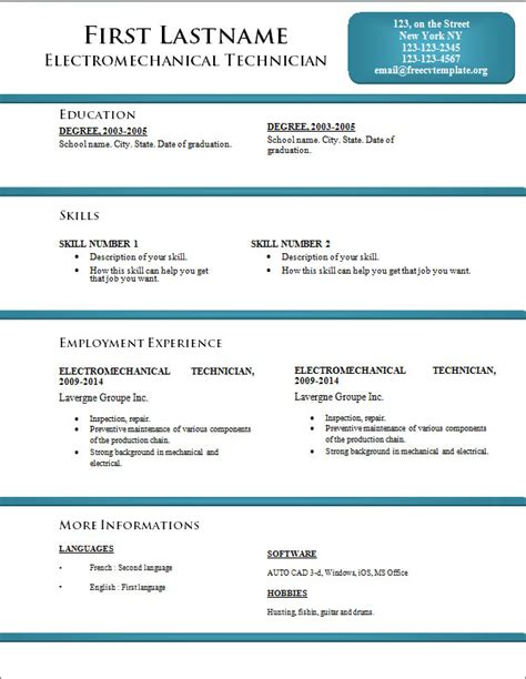 new resume template cv format free cv