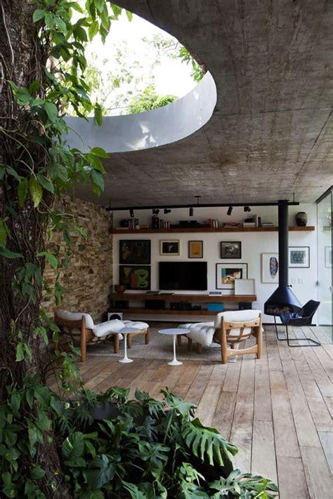 modern brazilian house built     tree
