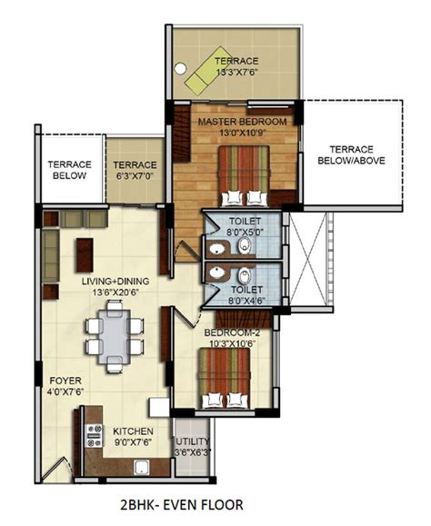 residential apartments floor plans site plan 2 bhk 3