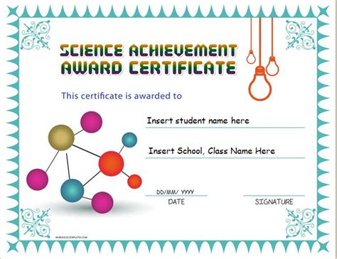 science award certificate template science achievement award certificates word excel