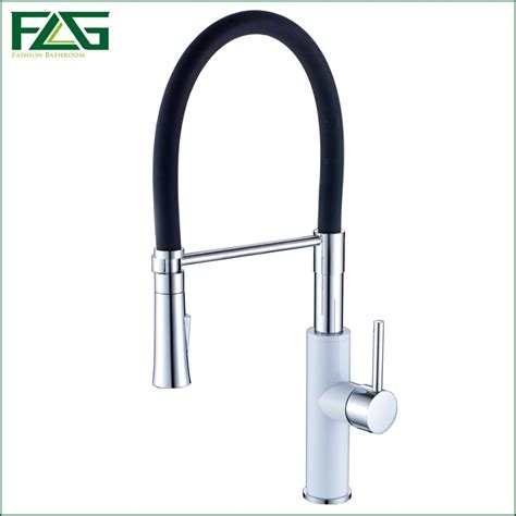 white kitchen faucets pull out flg new arrival kitchen faucet chrome grilled white painted pull out 360 degree rotating