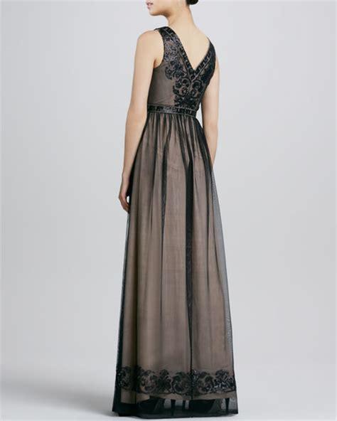 Badgley Mischka Drama Black badgley mischka sleeveless gown with embroidered bodice