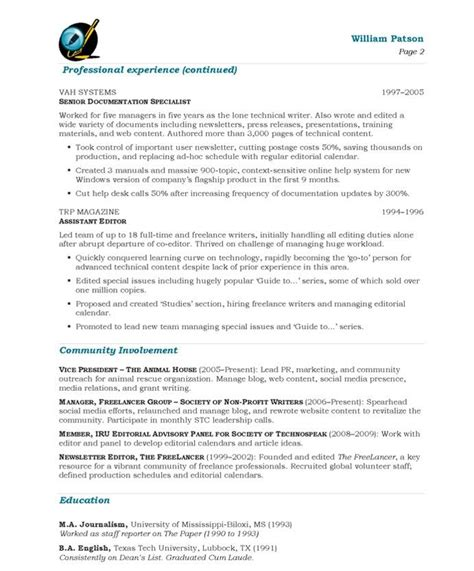 writer editor page2 media communications resume