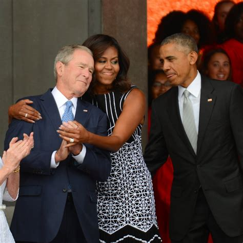 the obama s photos of the obamas and the bushes together popsugar news
