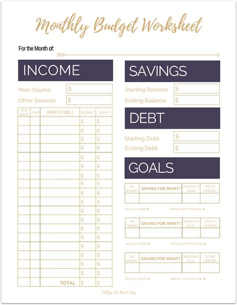 cute budget planner printable free printable monthly budget worksheets printable