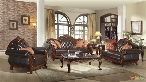 Tufted Living Room Furniture Traditional Brown Button Tufted Leather Living Room Furniture Exposed Wood Ebay