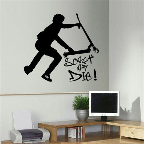 adult bedroom wall stickers large stunt trick scooter children bedroom wall mural transfer art sticker decal ebay