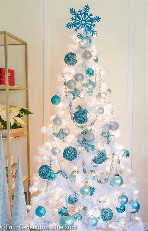 our cute blue white christmas tree four generations