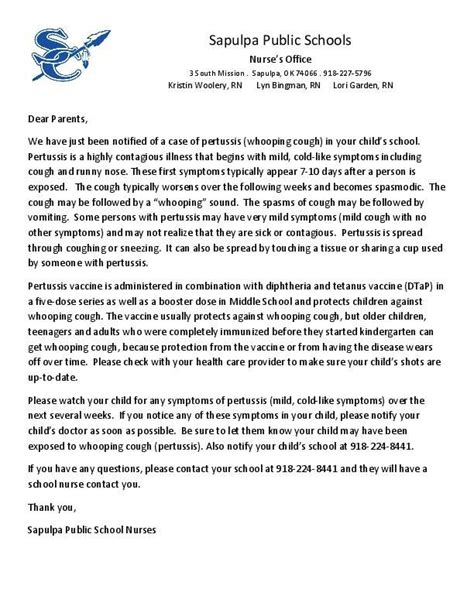 thank you letter to sports parents sapulpa letter to parents about whooping cough tulsa