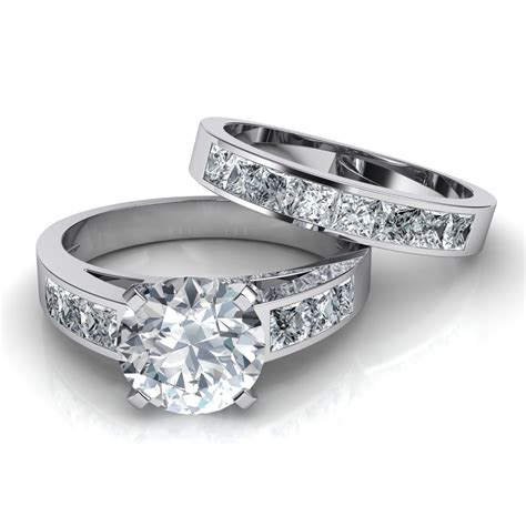Wedding Set Band by Channel Set Engagement Ring Matching Wedding