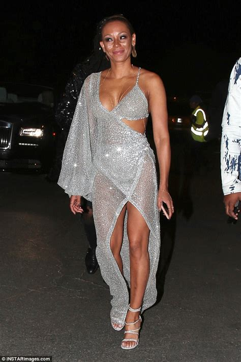 Mel Dress mel b bares in racy sheer gown in los angeles