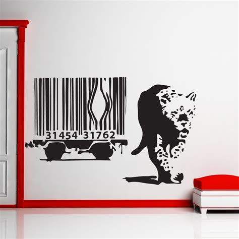 wall stickers banksy banksy barcode leopard wall sticker