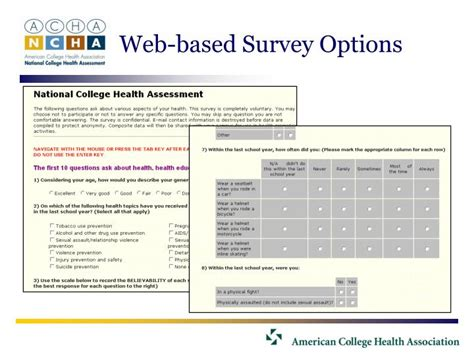 Web Based Survey - ppt implementing the acha ncha what users need to know to get started powerpoint