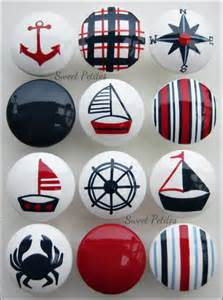 painted knob dresser drawer nautical sailboat crab