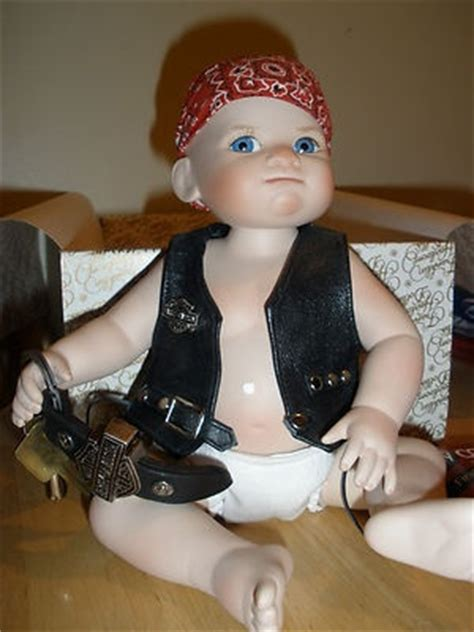 porcelain doll buyers franklin mint bobby the biker baby harley davidson