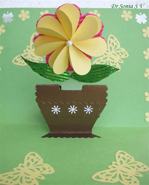paper flower pot tutorial cards crafts kids projects pop up card growing flower