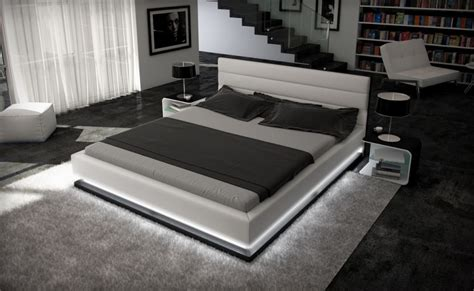 inmod contemporary leather bed  light ge modern