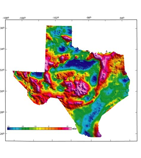 topographical map texas texas isostatic gravity