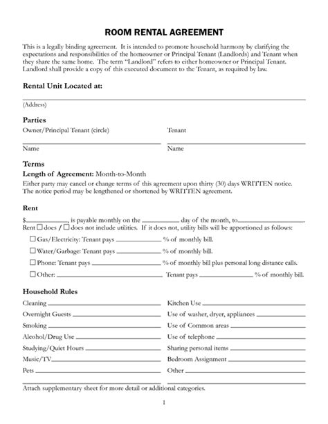rent a room tenancy agreement template room rental agreement form sle forms
