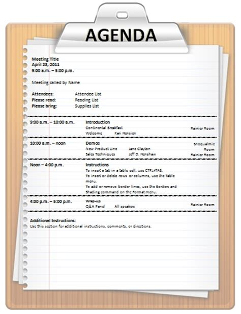 sle agenda template word agenda template office templates