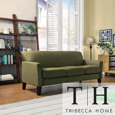 Tribecca Home Uptown Modern Sofa Small Green Microfiber Sectional Sofa And Ottoman Set F7284 Furniture Sectional
