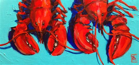 kelley macdonald s daily paintings lobster 6x12 inches acrylic painting by kelley macdonald