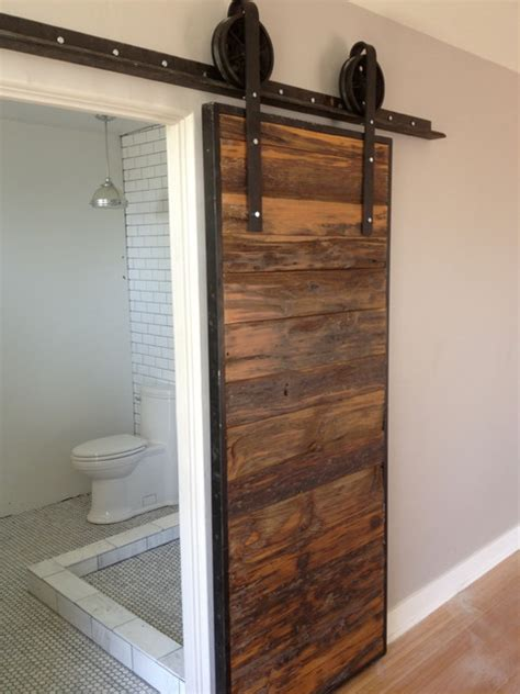 sliding bathroom barn door sliding barn door mushroom wood red grey hemlock contemporary bathroom