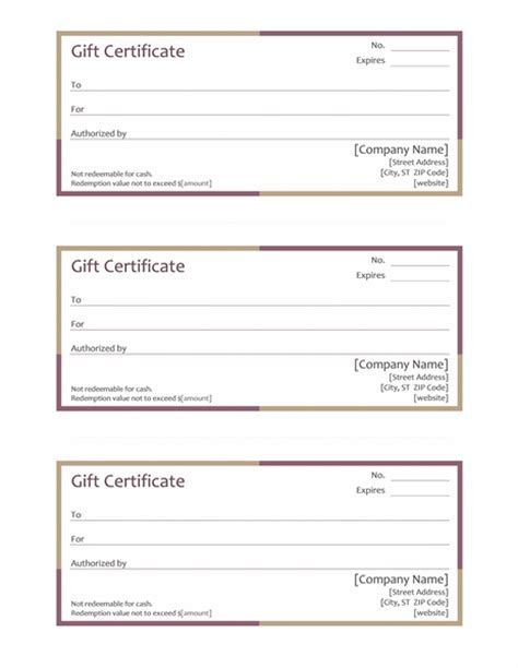 Multi Colored Gift Certificate Template Template For Word