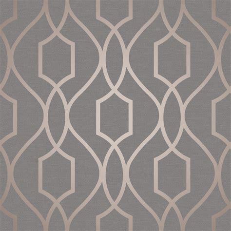 geometric wallpaper grey uk fine decor trellis copper wallpaper fd41998