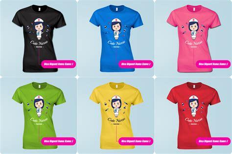 Kaos T Shirt Lengan Pendek Print Custom 6 jual kaos perawat lengan pendek kartun lucu custom nama bidan hebat
