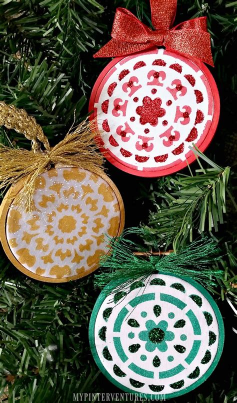 embroidery ornaments stenciled embroidery hoop ornaments 2016 ornament exchange