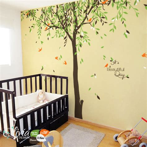 Large Nursery Wall Decals Large Baby Nursery Willow Tree Vinyl Wall Decal Nt017 Willow Tree Wall Decals And Walls