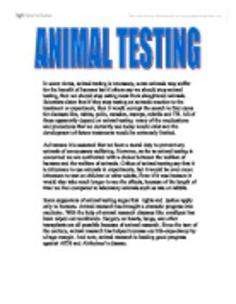 Animal Testing Benefits Essay by Animal Testing Gcse Marked By Teachers
