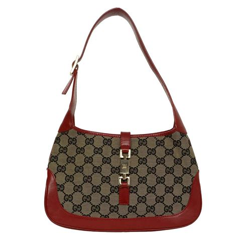 gucci monogram canvas  red leather jackie  bag ghw