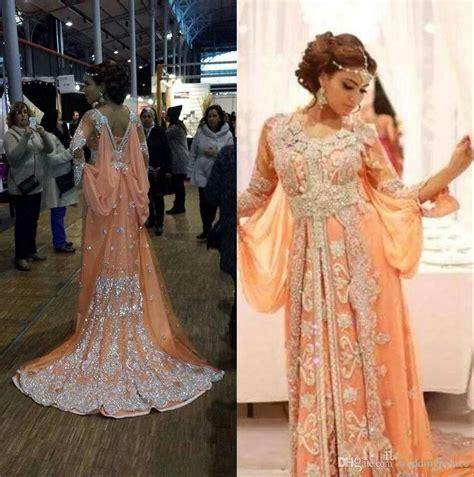 2016 Elegant Kaftan Abaya Arabic Evening Dresses Beaded Sequins Appliques Chiffon Long Formal