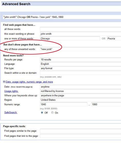 advanced search  google