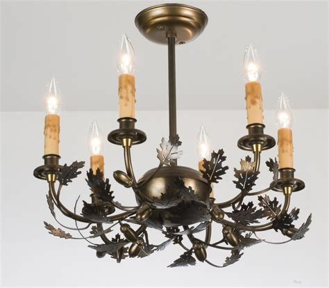 Acorn Chandelier Meyda 50095 Oak Leaf Acorn Six Light Chandelier