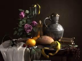 Dutch Masters Flowers - dutch still life rendering unused bagels