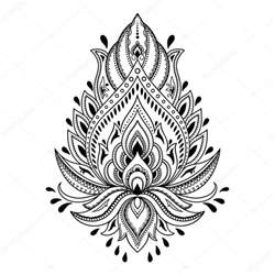 Henna Style Lotus Henna Flower Template In Indian Style Ethnic