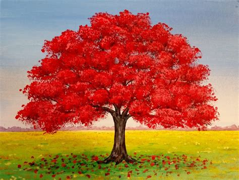 acrylic painting of trees live oak tree fall landscape acrylic painting