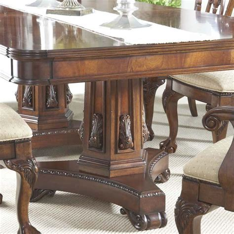 pedestal dining room table sets 7 piece dining room set with elegant double pedestal table