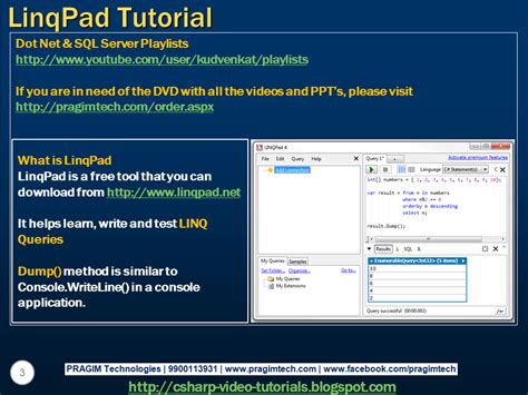 tutorial video sql sql server net and c video tutorial part 32 linqpad