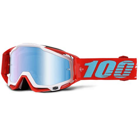 tinted motocross goggles 100 percent mx new racecraft kepler red dirt bike blue
