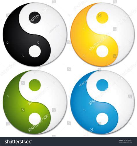 colorful yin yang yin yang symbols set colorful vector stock vector 96188675