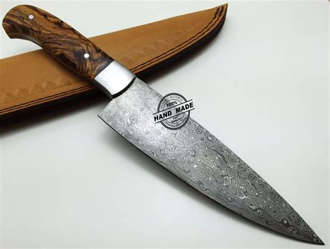 Handmade Cutlery - regular damascus kitchen knife custom handmade damascus steel4