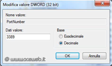 porta per desktop remoto come modificare la porta servizio desktop remoto di