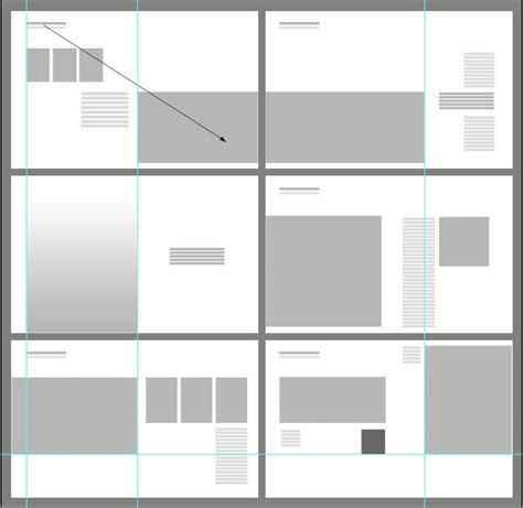 portfolio content layout graphic layout diagram for 6 spreads notice full bleed