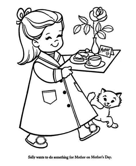 breakfast in bed for mom mothers day coloring pages i