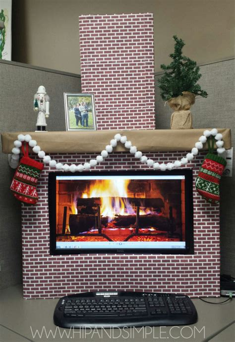 christmas decorations on the computer faux cardboard fireplace mantel hip simple