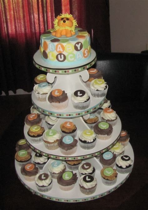King Baby Shower Cupcakes by King Of The Jungle Baby Shower Cupcake Tower Cakecentral